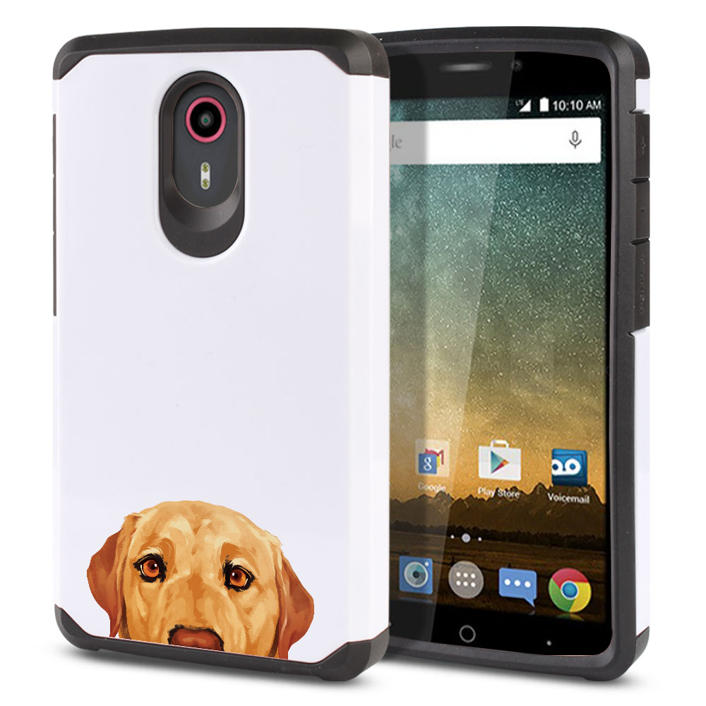 Hybrid Slim Fusion Yellow Labrador Retriever Dog Protector Cover Case for ZTE N817 Quest Uhura