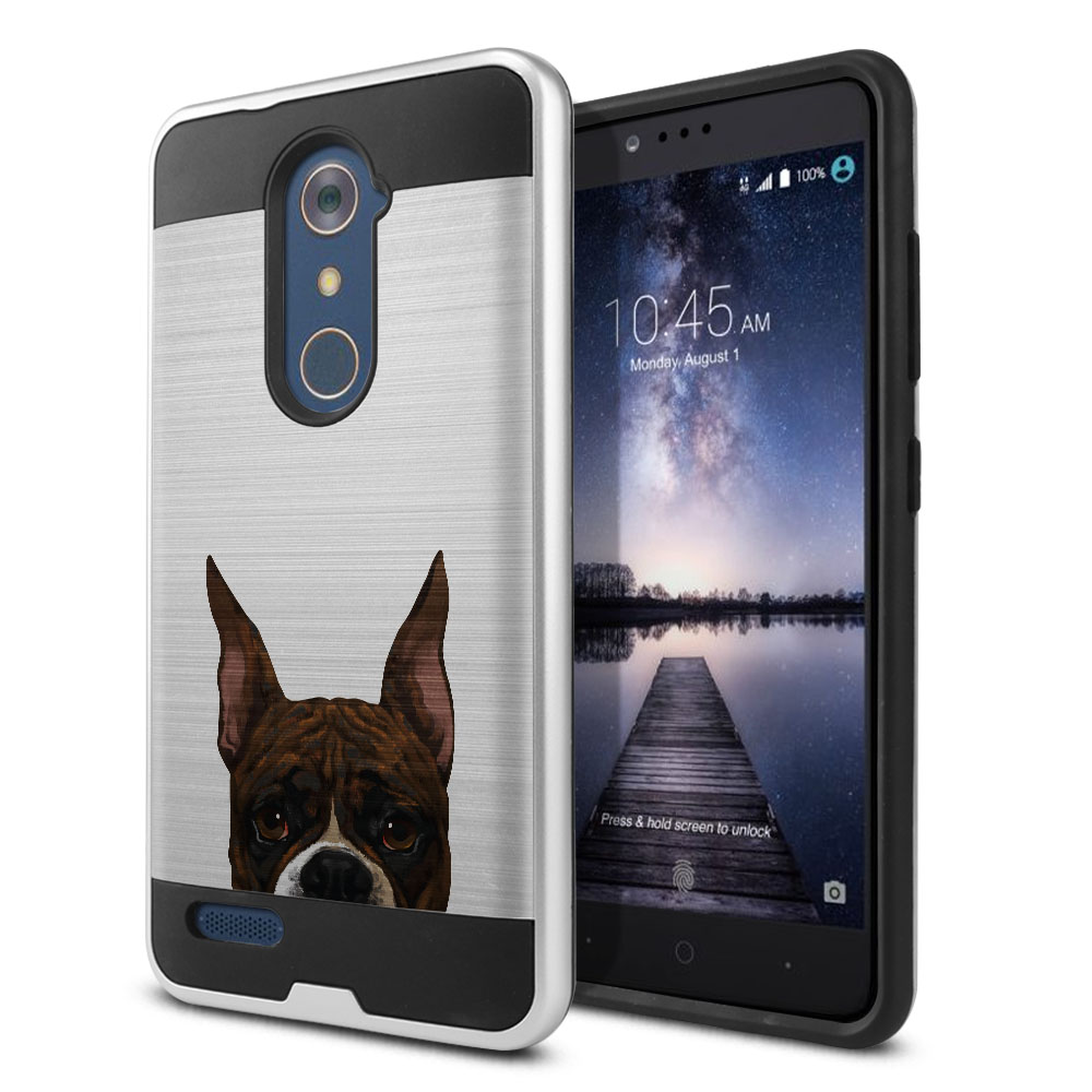 Hybrid Fusion Brush Brindle Pattern Boxer Dog Protector Cover Case for ZTE Zmax Pro Carry Z981