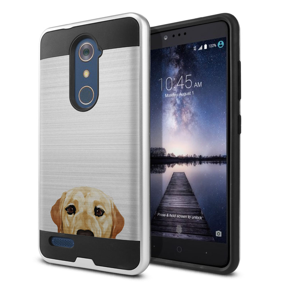 Hybrid Fusion Brush Cream Labrador Retriever Dog Protector Cover Case for ZTE Zmax Pro Carry Z981
