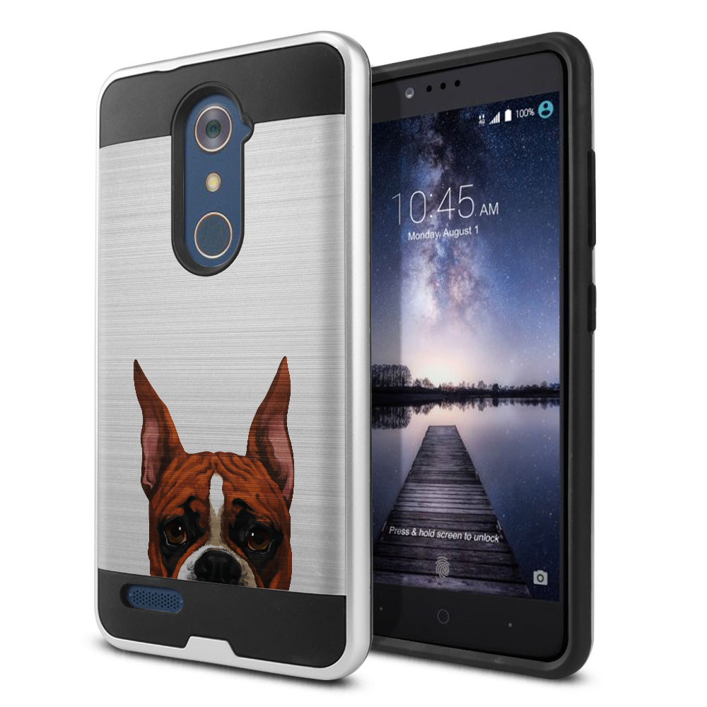 Hybrid Fusion Brush Fawn Color Boxer Dog Protector Cover Case for ZTE Zmax Pro Carry Z981