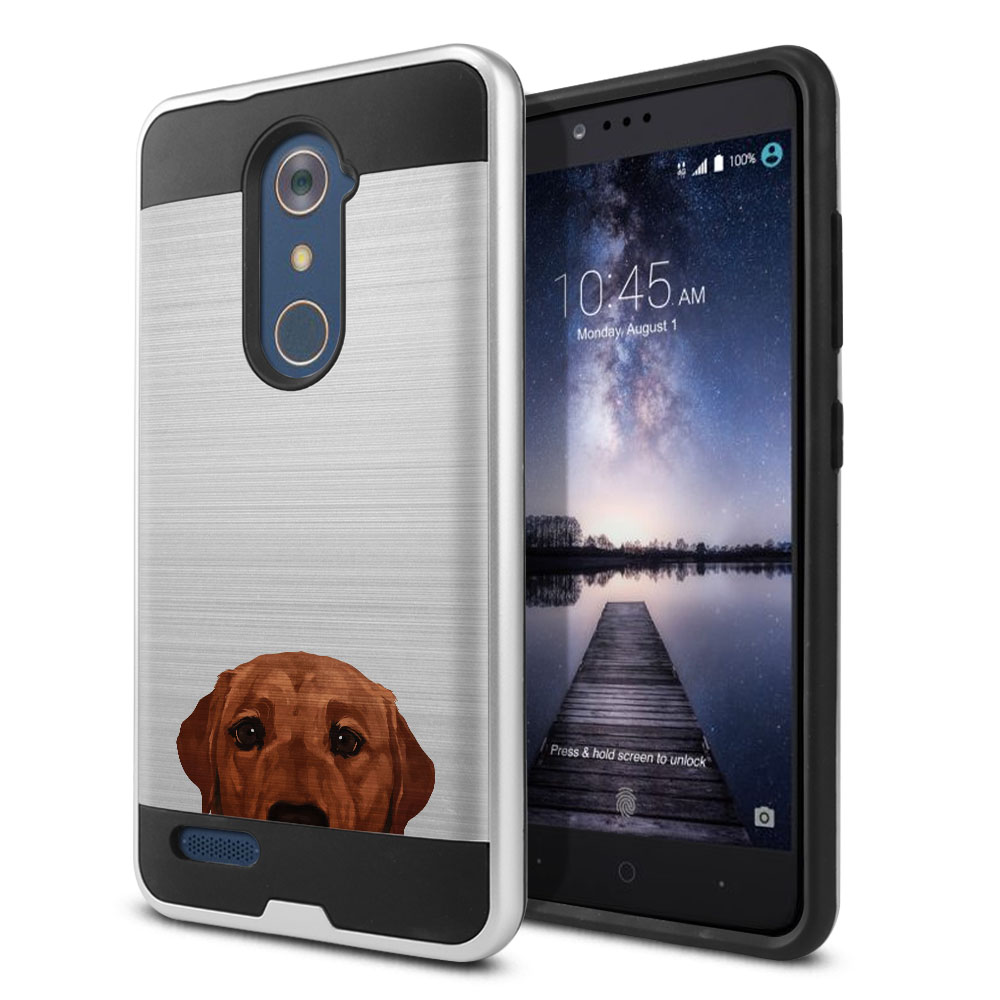 Hybrid Fusion Brush Fox Red Labrador Retriever Dog Protector Cover Case for ZTE Zmax Pro Carry Z981