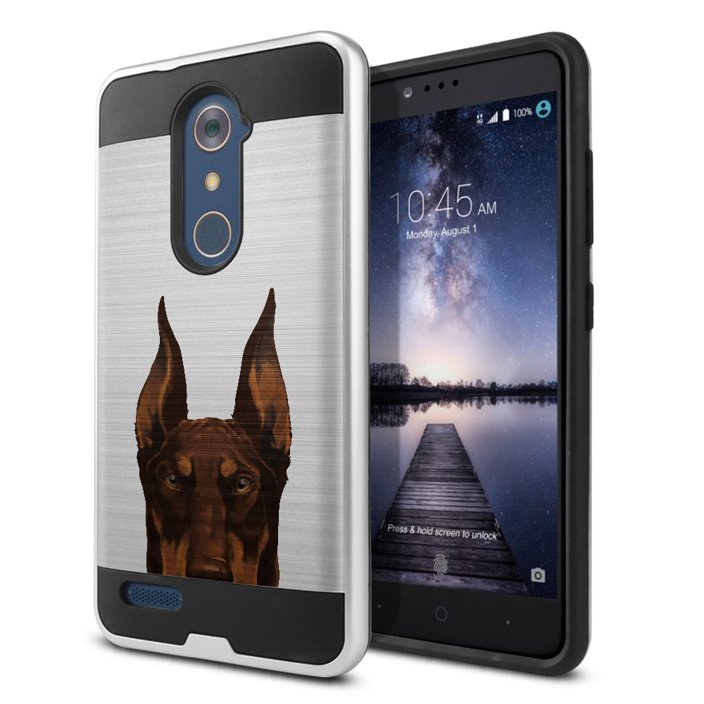 Hybrid Fusion Brush Red Chocolate Doberman Pinscher Dog Protector Cover Case for ZTE Zmax Pro Carry Z981