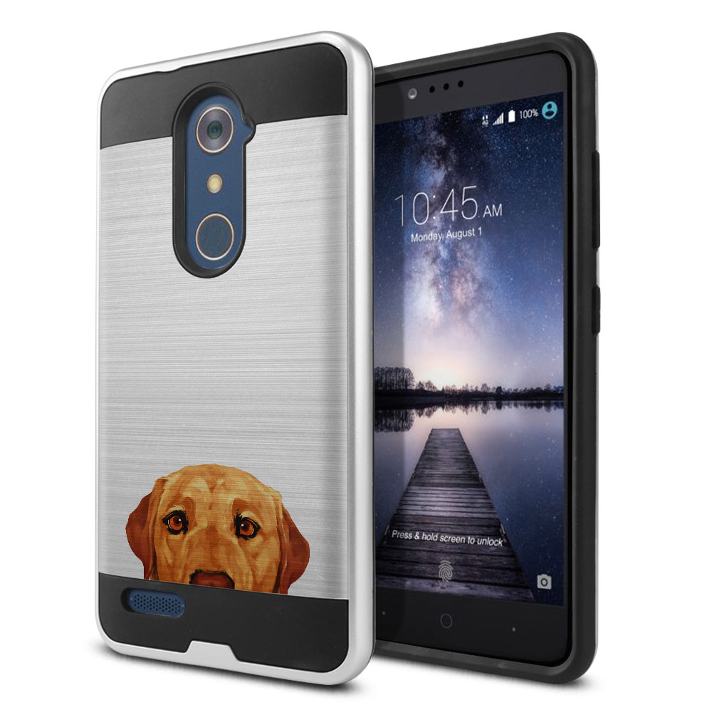 Hybrid Fusion Brush Yellow Labrador Retriever Dog Protector Cover Case for ZTE Zmax Pro Carry Z981
