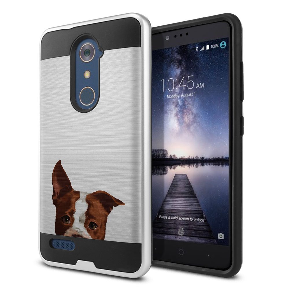 Hybrid Fusion Brush Brown American Pit Bull Puppy Dog Protector Cover Case for ZTE Zmax Pro Carry Z981