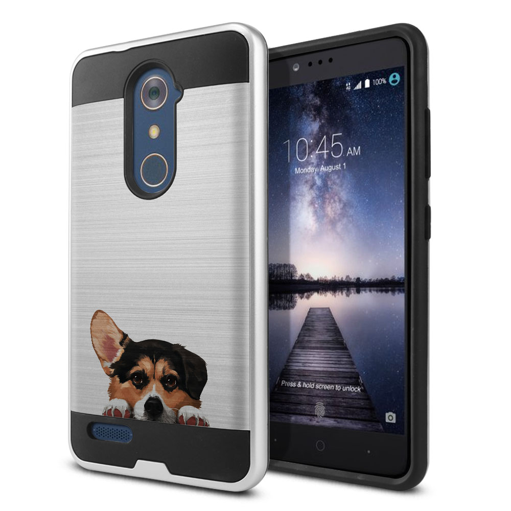Hybrid Fusion Brush Tricolor Pembroke Welsh Corgi Protector Cover Case for ZTE Zmax Pro Carry Z981