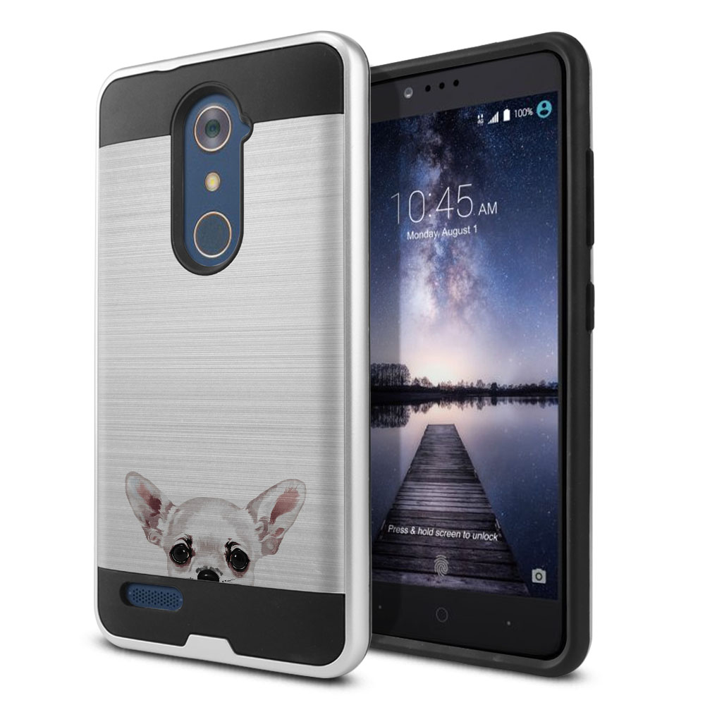 Hybrid Fusion Brush White Chihuahua Protector Cover Case for ZTE Zmax Pro Carry Z981