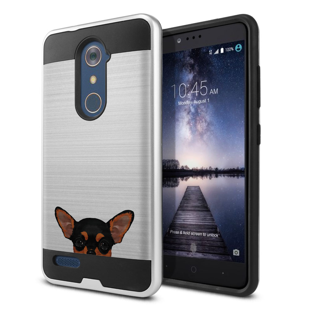 Hybrid Fusion Brush Black Tan Chihuahua Protector Cover Case for ZTE Zmax Pro Carry Z981