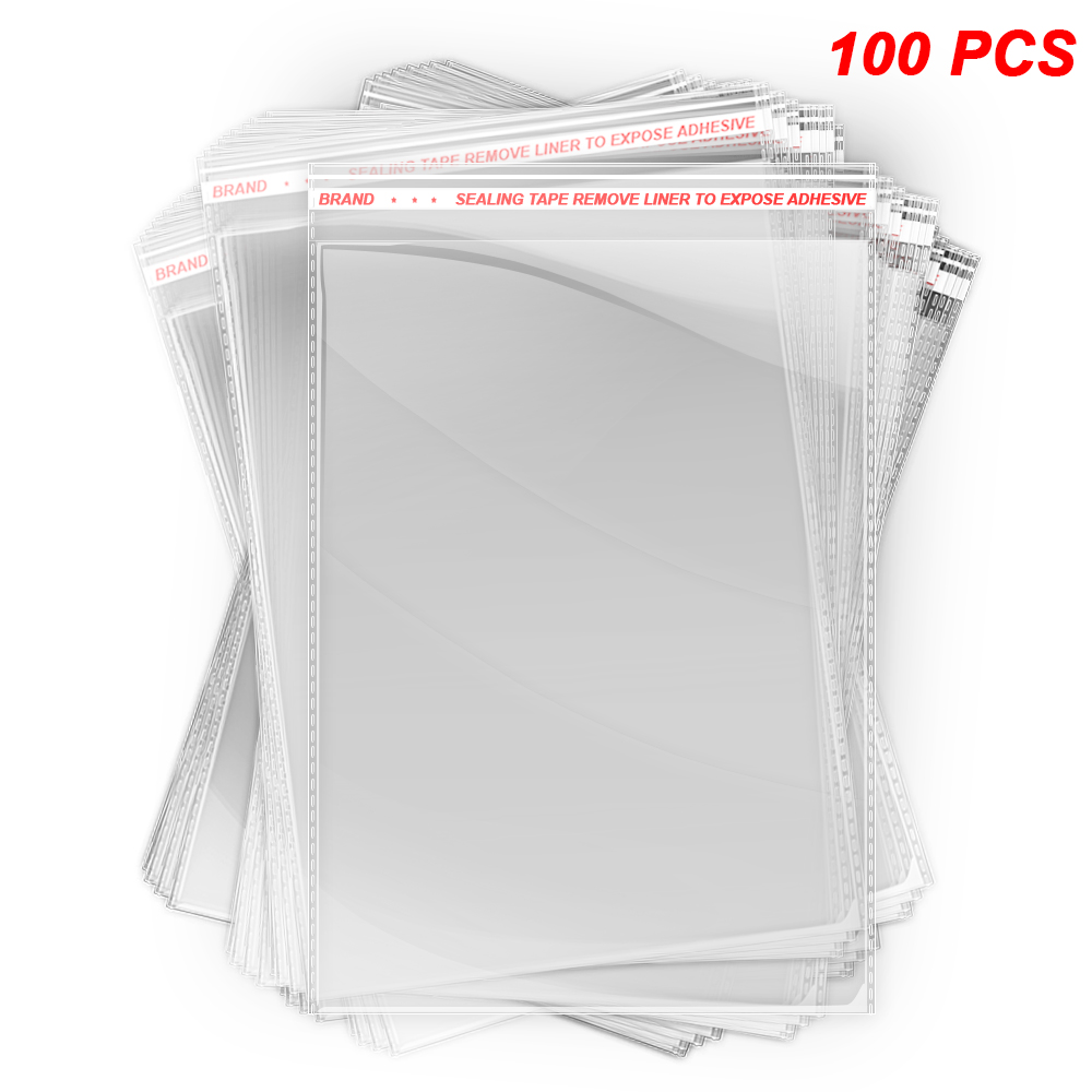 afbe84a002b Details about 100 pcs Clear Polybag Self Adhesive Seal Plastic Bags for  Clothes, 8.5x12 inches