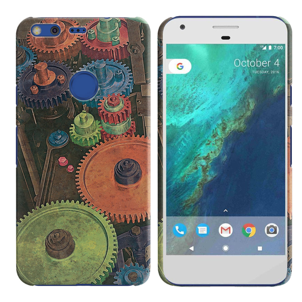 Google Pixel 5 inch HTC Vintage Colorful Gears Back Cover Case