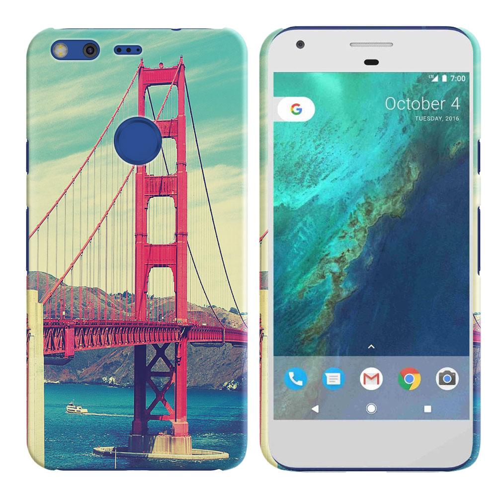 Google Pixel XL 5.5 inch HTC Vintage Retro Golden Gate Bridge Back Cover Case
