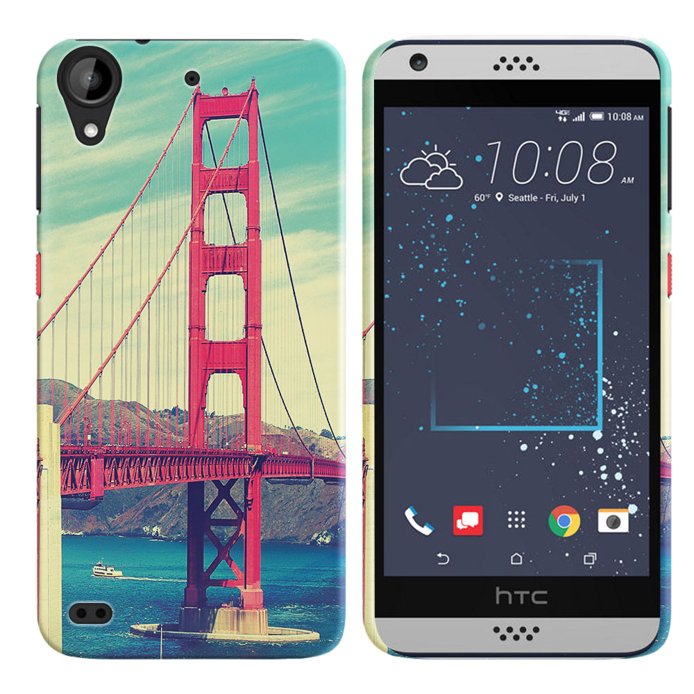 HTC Desire 530 630 Vintage Retro Golden Gate Bridge Back Cover Case