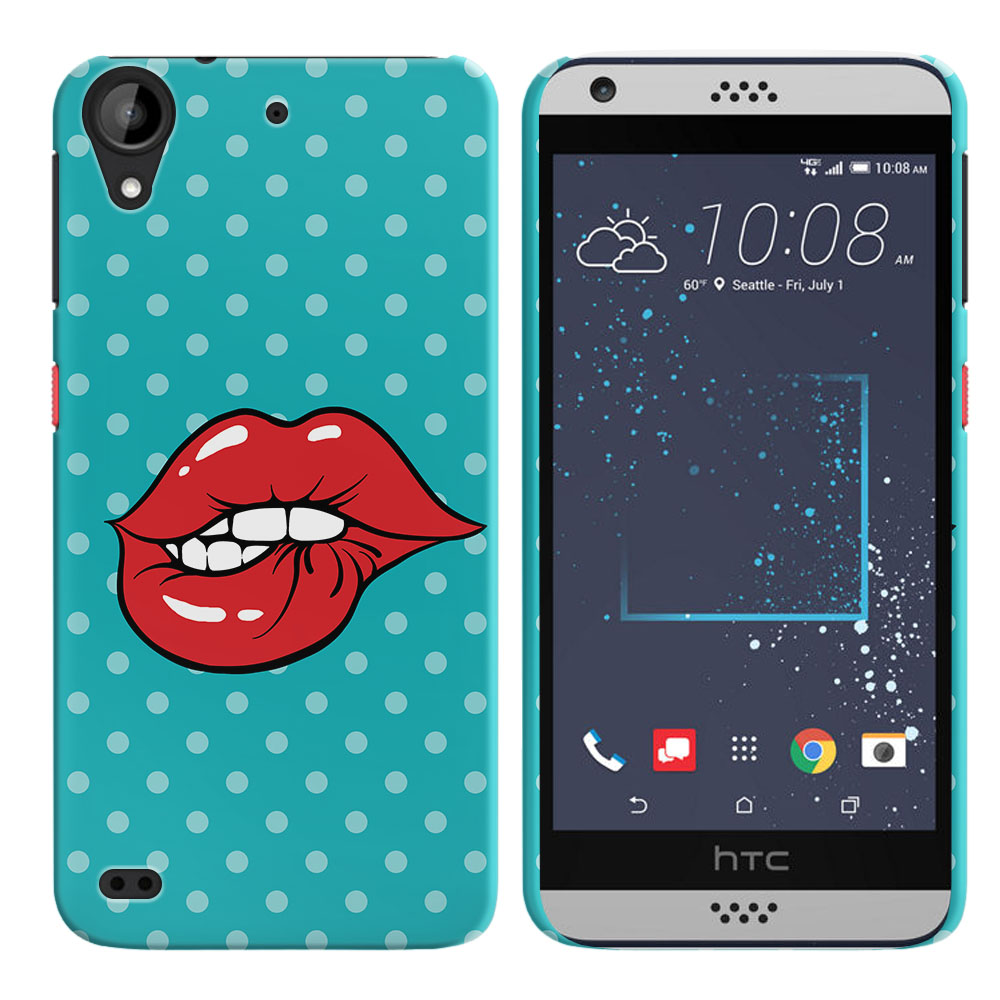 HTC Desire 530 630 Pop Art Biting Lips Back Cover Case