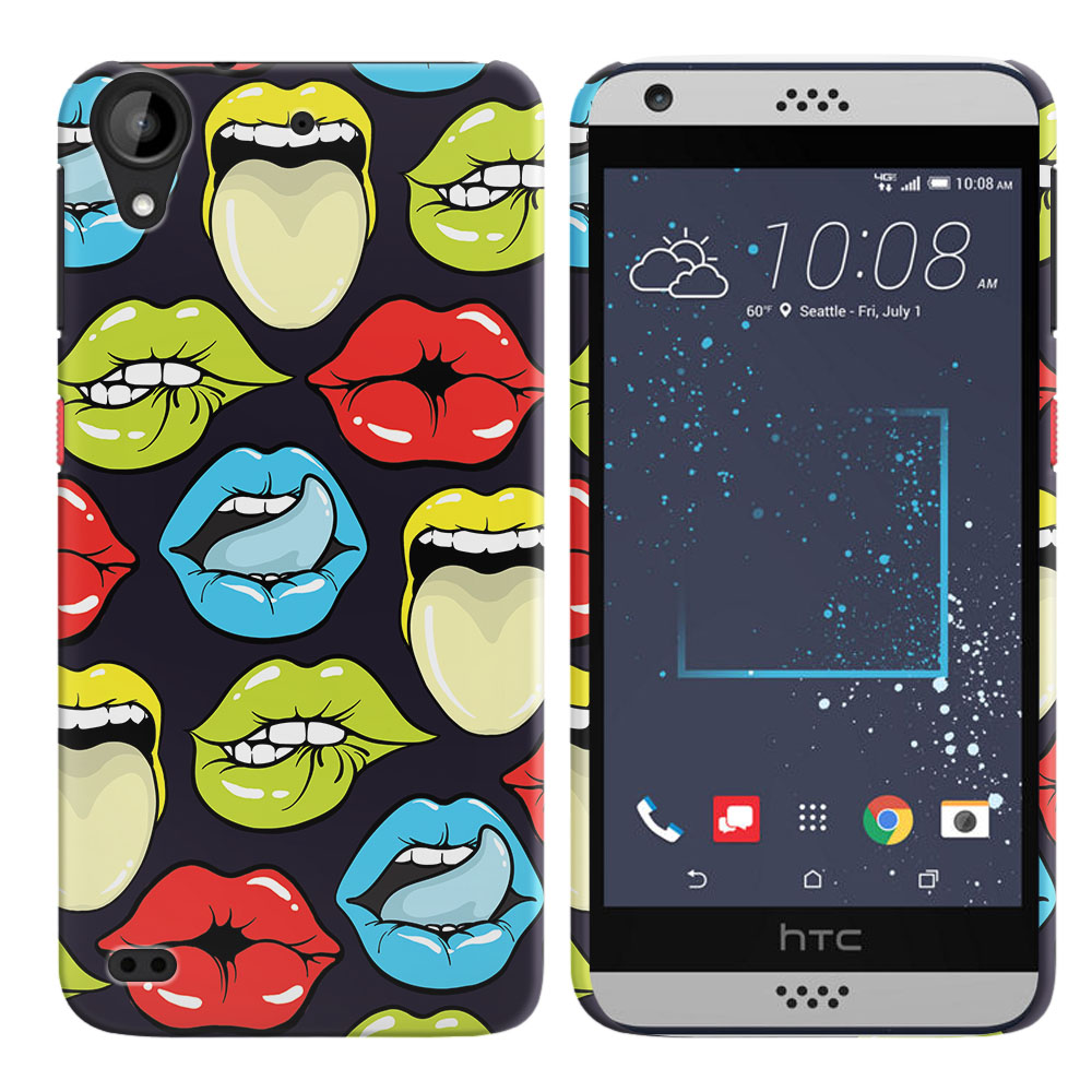 HTC Desire 530 630 Pop Art Colored Lips Back Cover Case