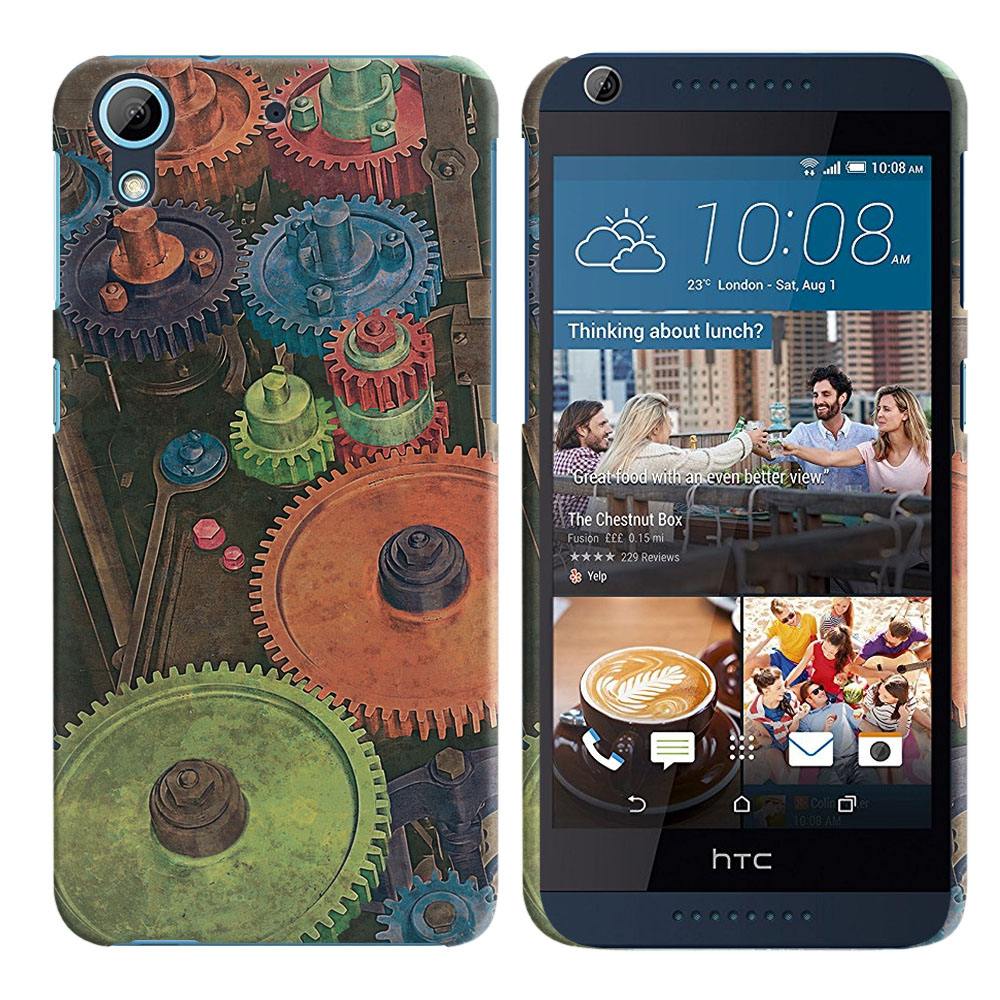 HTC Desire 626 626S Vintage Colorful Gears Back Cover Case