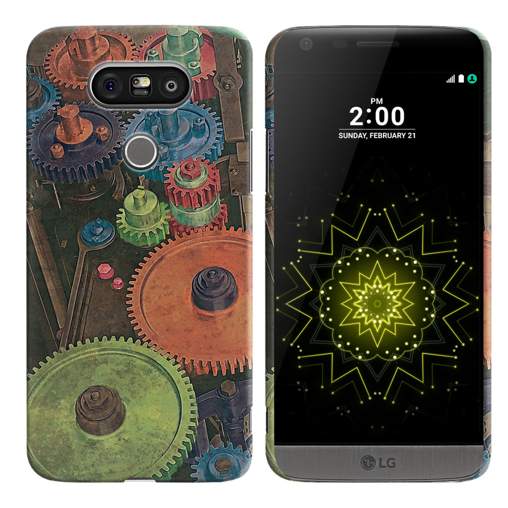 LG G5 H850 VS987 Vintage Colorful Gears Back Cover Case