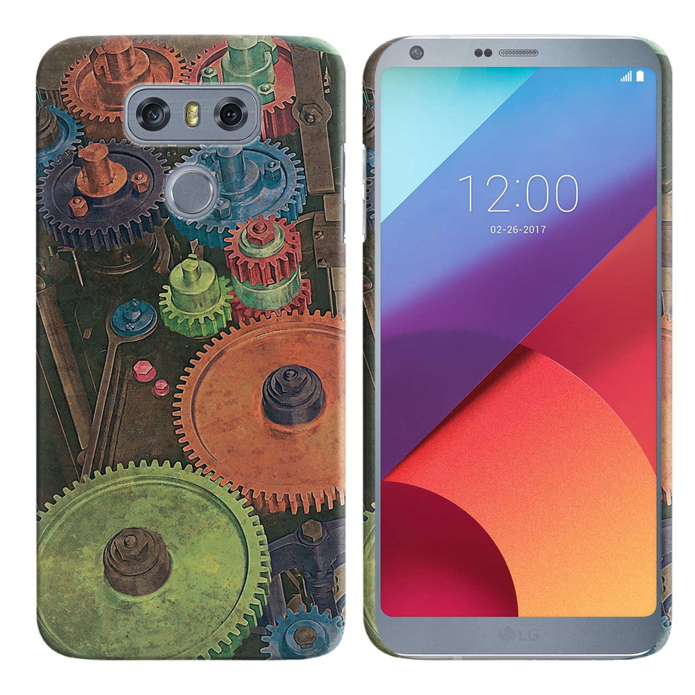 LG G6 H870 H871 H872 US997 LS993 VS998 AS993 Vintage Colorful Gears Back Cover Case