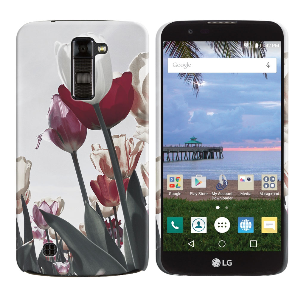 LG K10 Premier LTE L62VL L61AL K428 K430 K420 K420N Vintage Retro Red White Tulips Back Cover Case