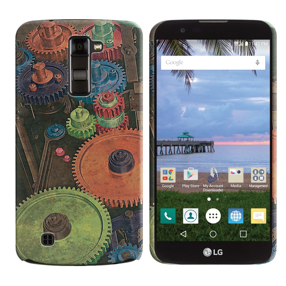 LG K10 Premier LTE L62VL L61AL K428 K430 K420 K420N Vintage Colorful Gears Back Cover Case