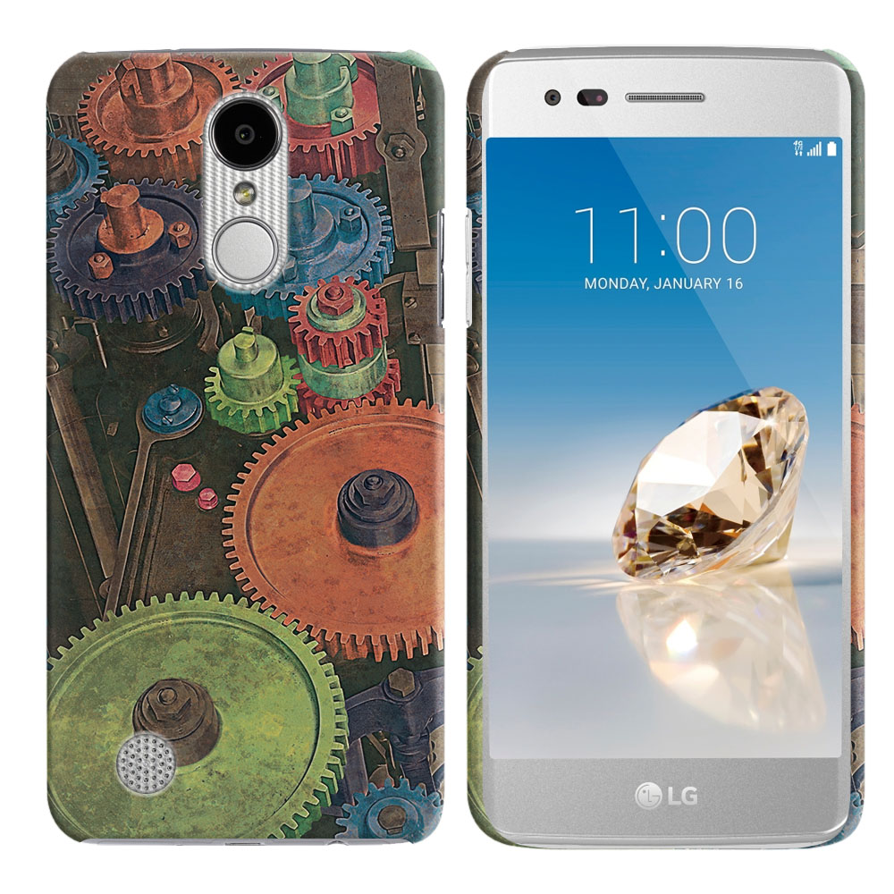 LG Aristo MS210 LV3 K8 (2017) Phoenix 3 M150 Fortune Vintage Colorful Gears Back Cover Case