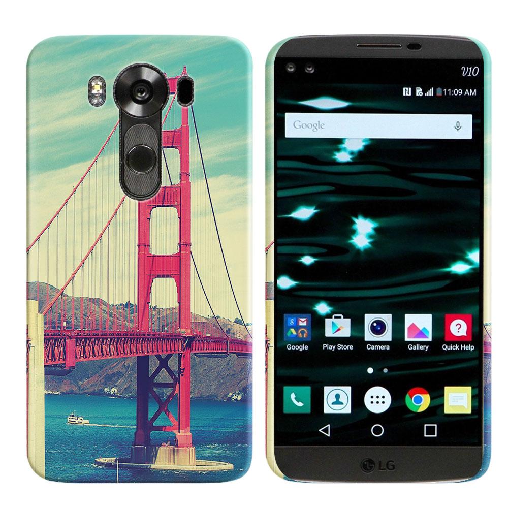 LG V10 H900 VS990 H901 H968 H961N Vintage Retro Golden Gate Bridge Back Cover Case