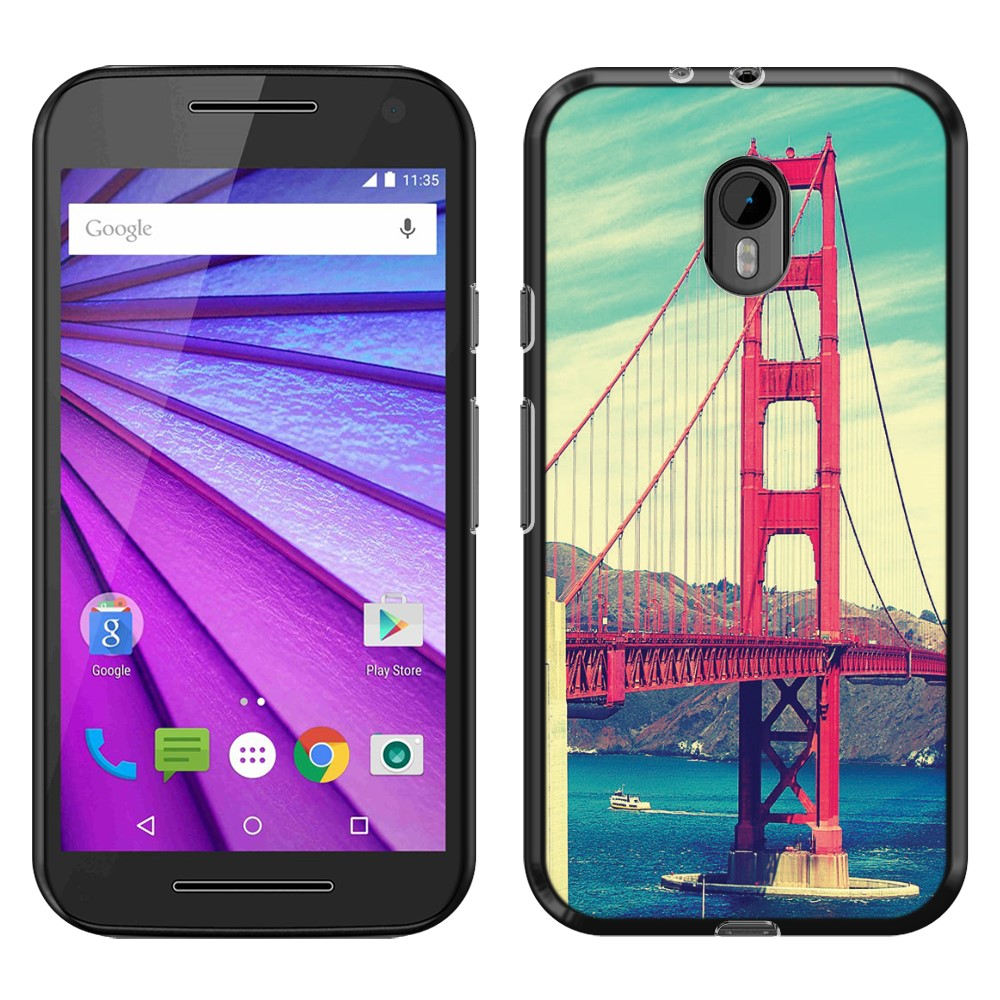 Motorola Moto G 2015 3rd Gen XT1541 XT1540 XT1548 Vintage Retro Golden Gate Bridge SLIM FIT Back Cover Case