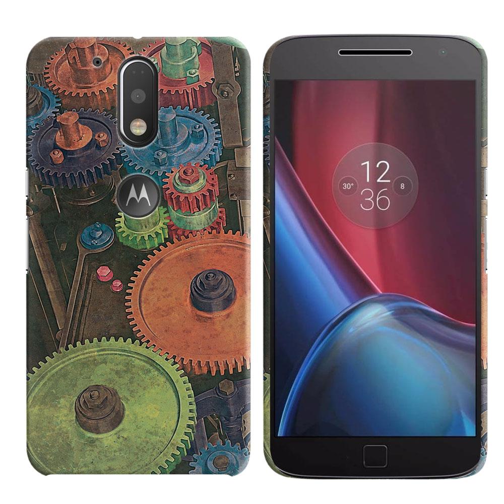 Motorola Moto G4/ G4 Plus 5.5 inch XT1625 XT1644 Vintage Colorful Gears Back Cover Case