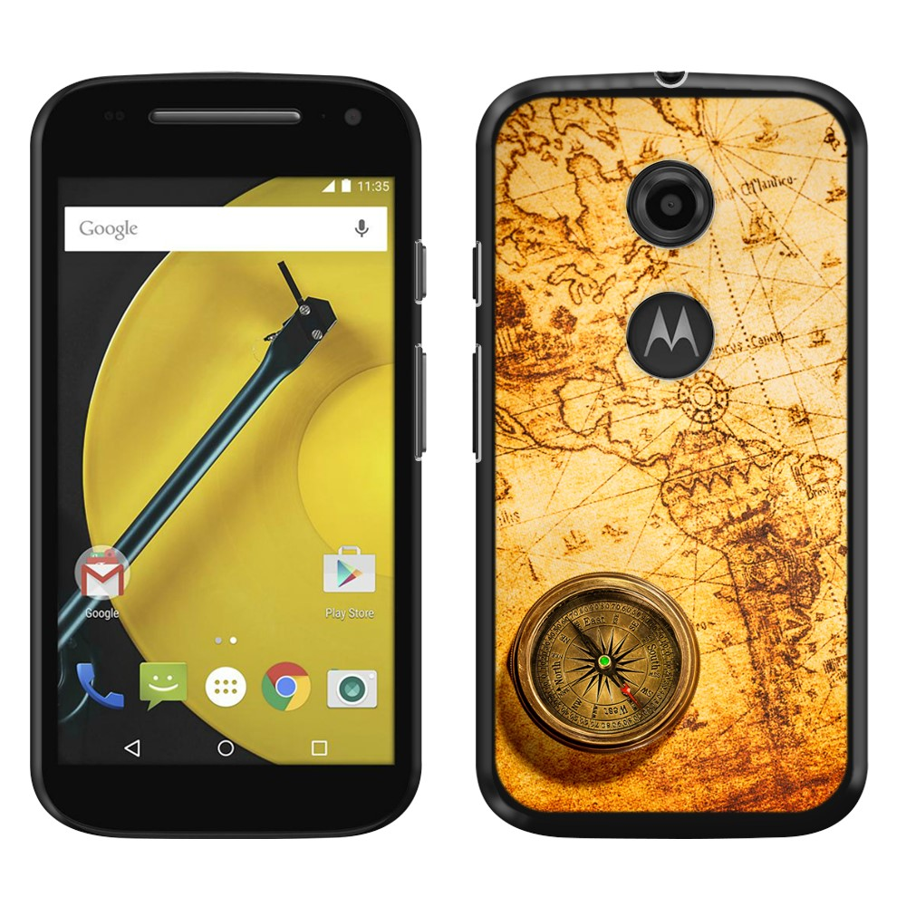 Motorola Moto E LTE 2nd Gen 2015 Vintage Old World Map Compass SLIM FIT Back Cover Case