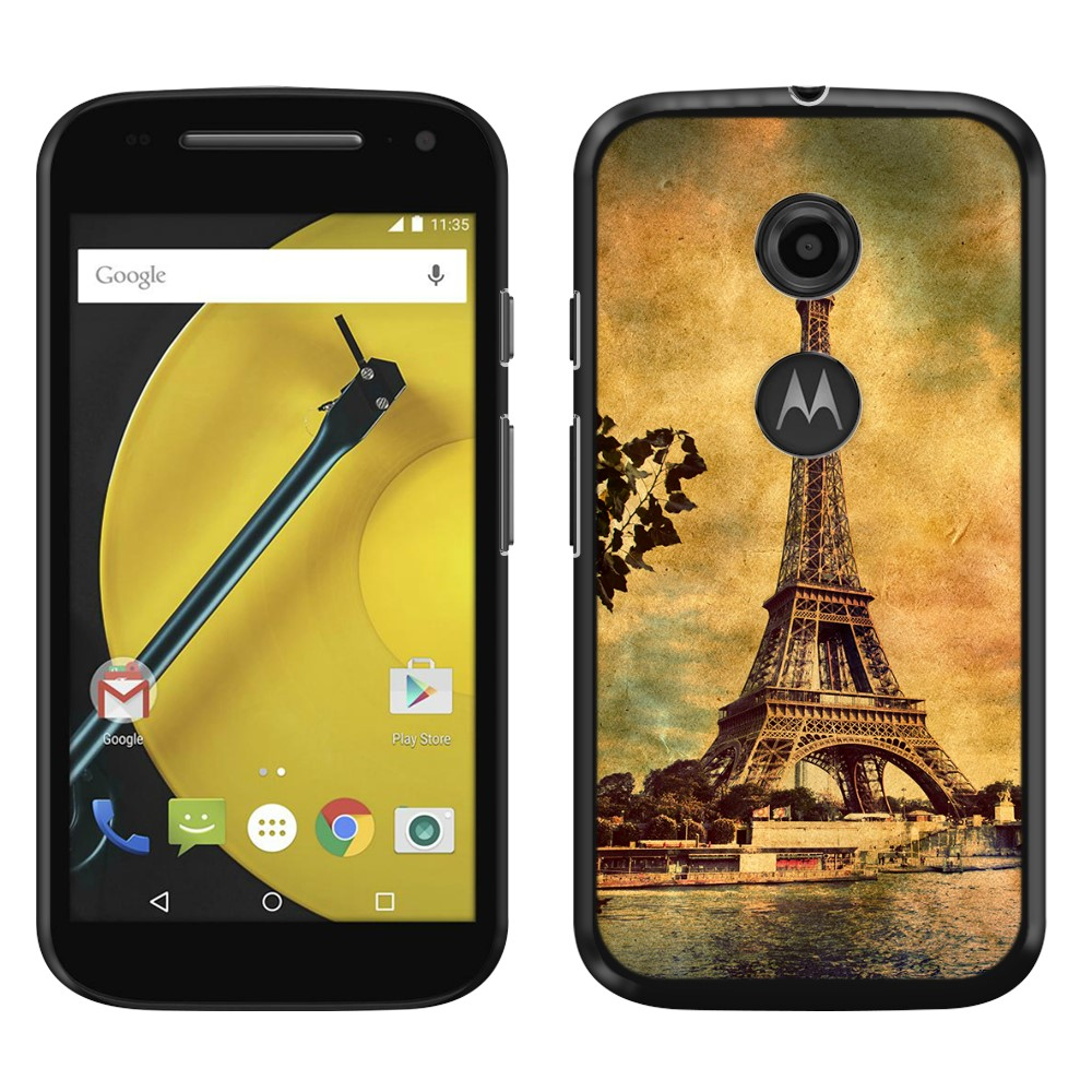 Motorola Moto E LTE 2nd Gen 2015 Vintage Paris Eiffel Tower River SLIM FIT Back Cover Case