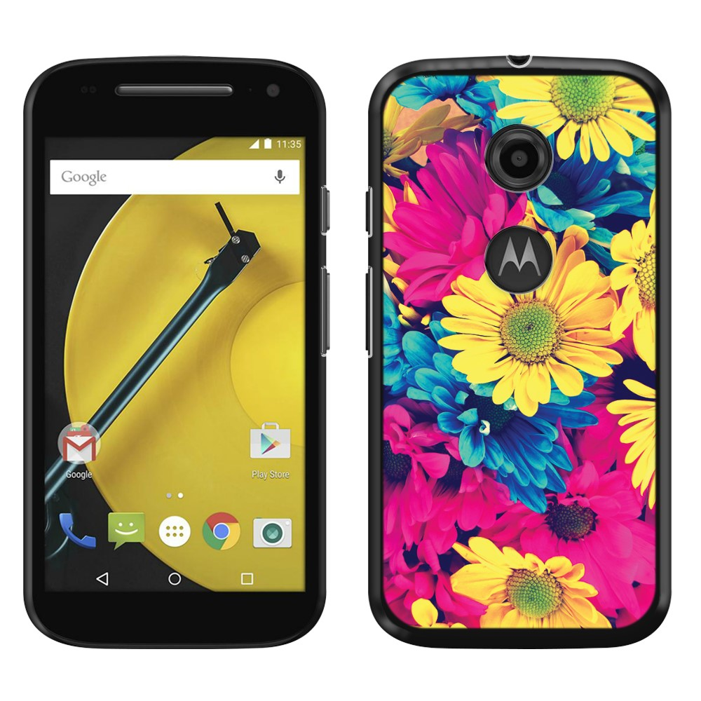 Motorola Moto E LTE 2nd Gen 2015 Vintage Retro Colorful Daisy Flowers SLIM FIT Back Cover Case