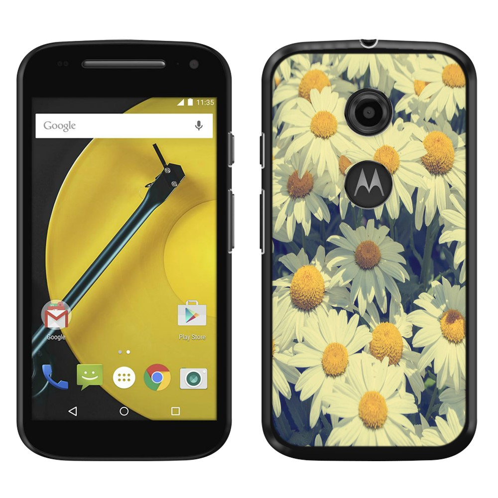 Motorola Moto E LTE 2nd Gen 2015 Vintage Retro Daisy Flowers Daisies SLIM FIT Back Cover Case