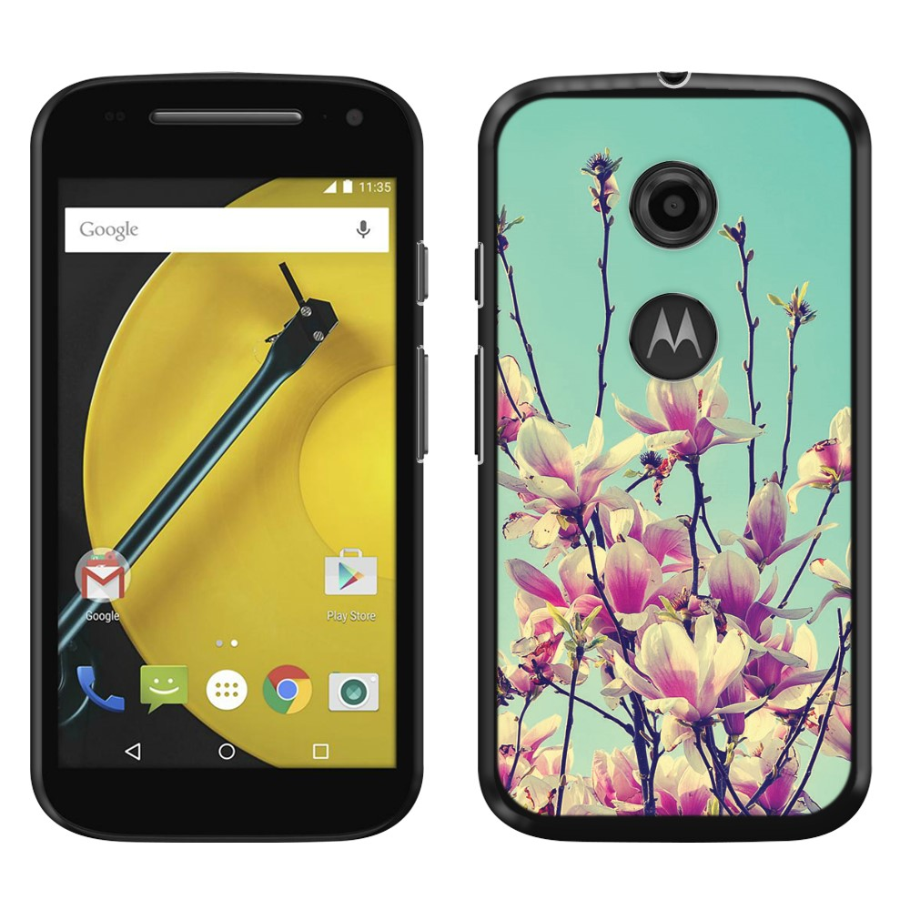 Motorola Moto E LTE 2nd Gen 2015 Vintage Retro Spring Flowers Blossom SLIM FIT Back Cover Case