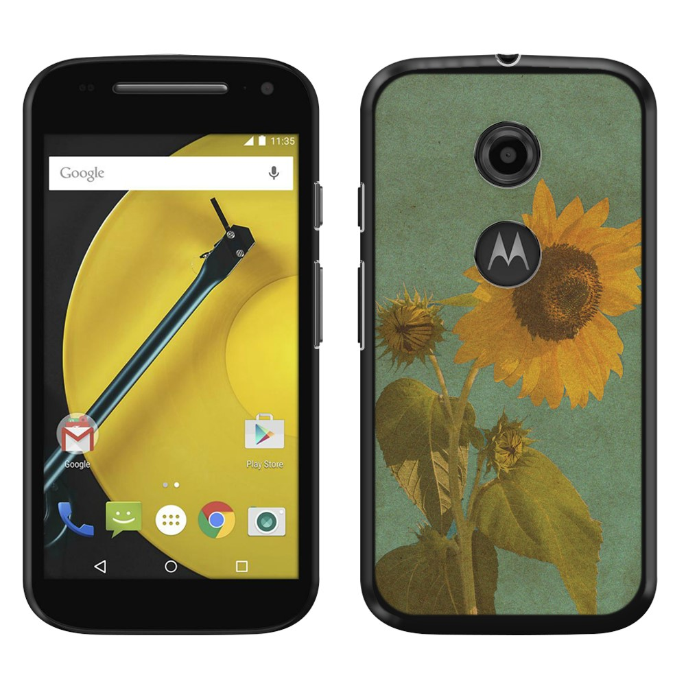 Motorola Moto E LTE 2nd Gen 2015 Vintage Sunflower SLIM FIT Back Cover Case