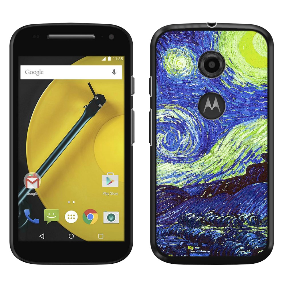 Motorola Moto E LTE 2nd Gen 2015 The Starry Night Moon Van Gogh Back Cover Case