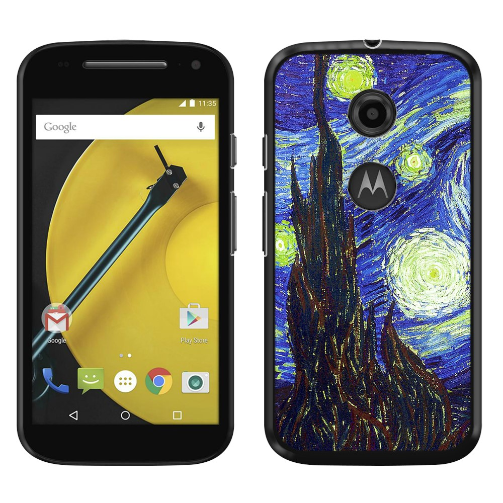 Motorola Moto E LTE 2nd Gen 2015 The Starry Night Van Gogh Back Cover Case