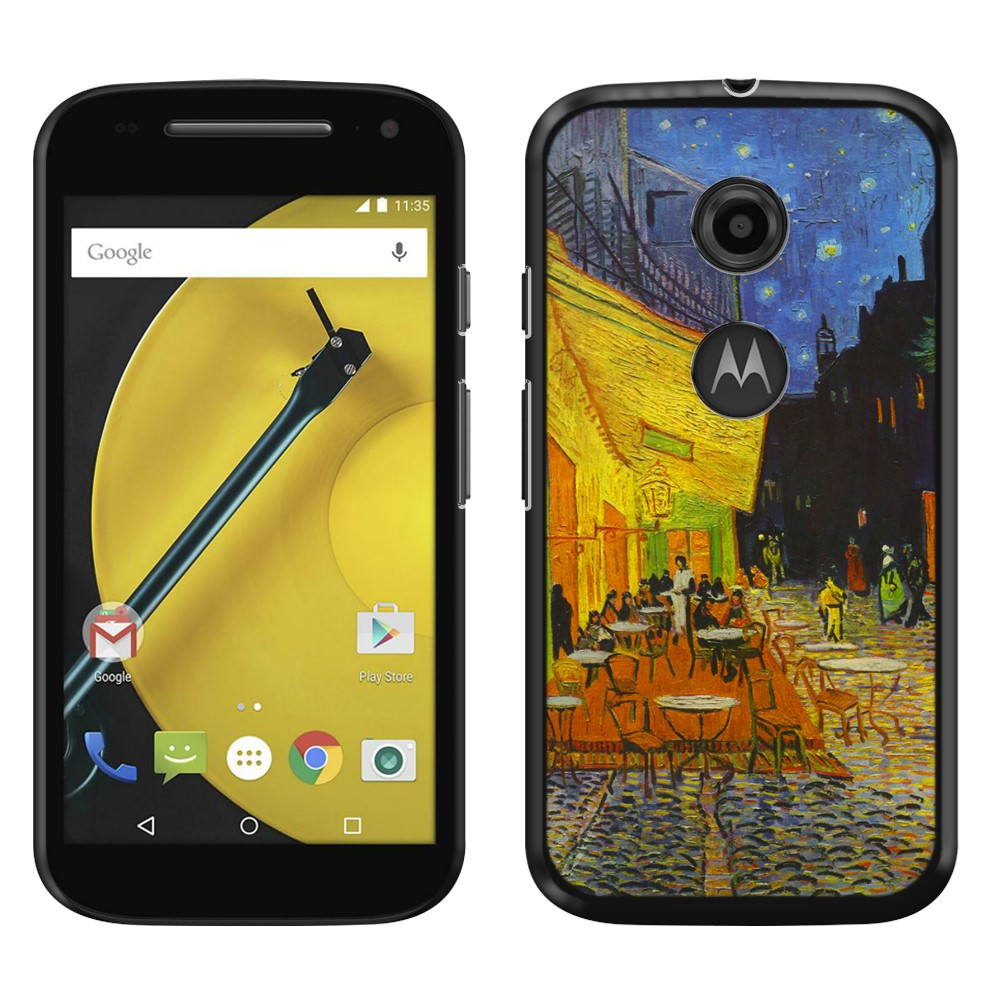 Motorola Moto E LTE 2nd Gen 2015 Cafe Terrace At Night Van Gogh Back Cover Case