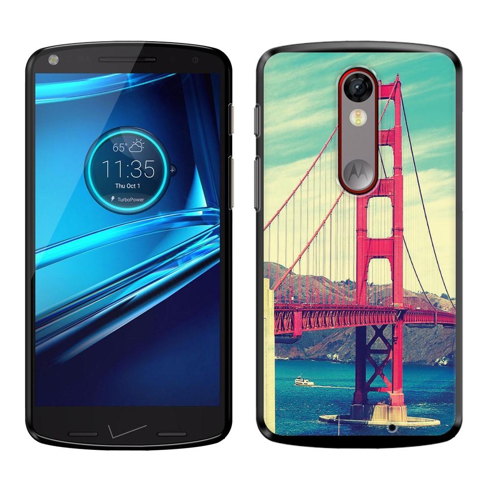 Motorola Droid Turbo 2 Kinzie XT1585 Moto X Force XT1580 Vintage Retro Golden Gate Bridge SLIM FIT Back Cover Case