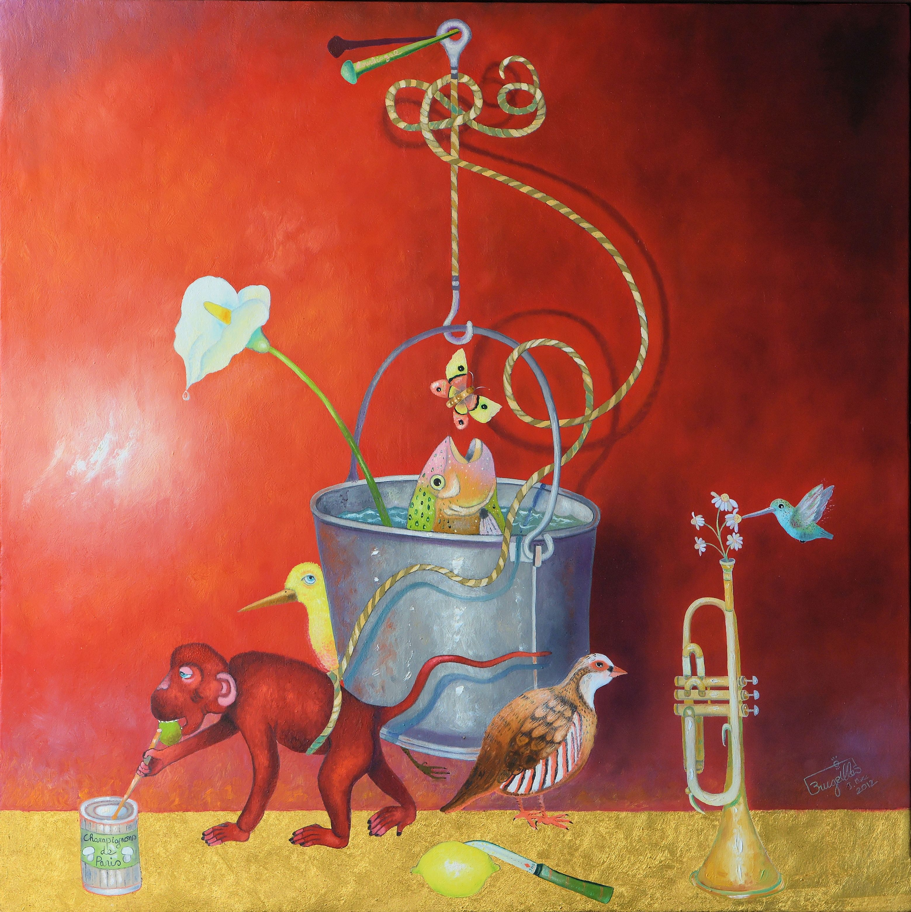 9 Brugeilles Going Around The Bucket 35X35 Oil Gold Leaf On Canvas