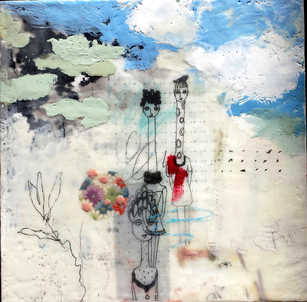 Judith Williams Outing 12X12 Mixed Media On Panel