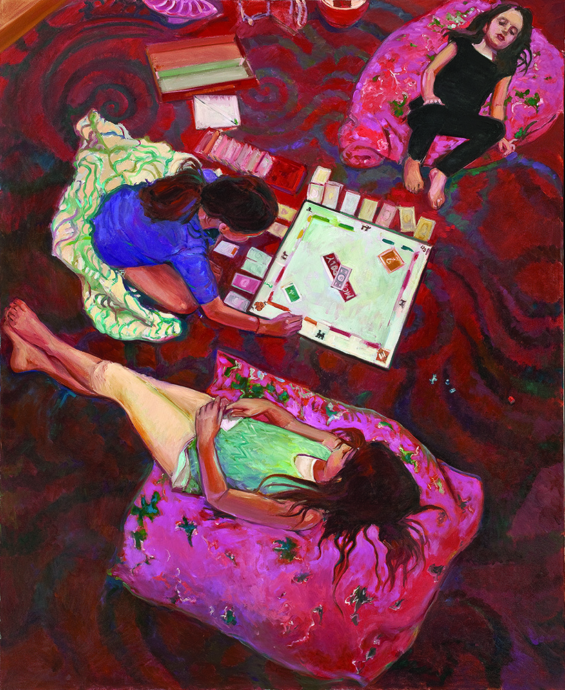 Kathleen Lack Playing Monopoly Oil On Canvas 60X48 2014Jpg