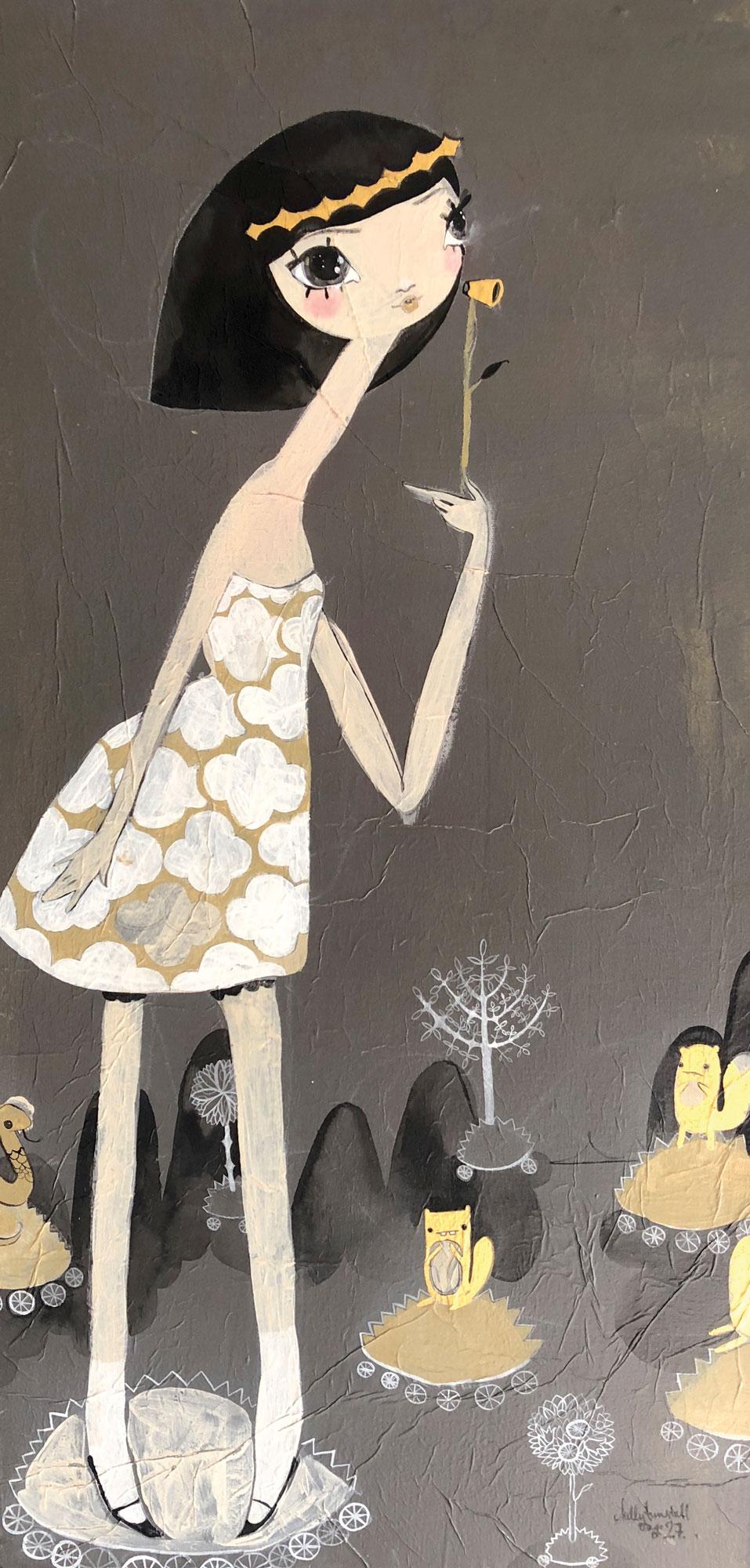 Kelly Tunstall St  Tammy Faye 30X15 Acrylic Gold Leaf On Canvas 2006 2