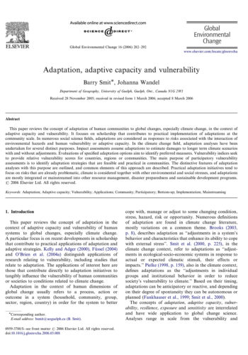 Adaptation Adaptive Capacity Paper