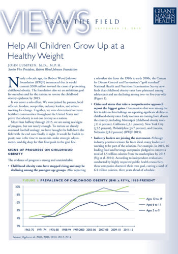 Children Healthy Weight Rwjf September 2015