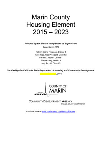 Marin County Housing Element