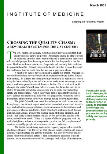 Quality Chasm 2001 Report Brief
