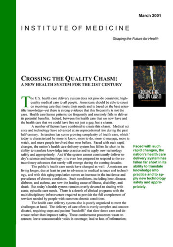 Institute Of Medicine Crossing The Quality Chasm 700X1000