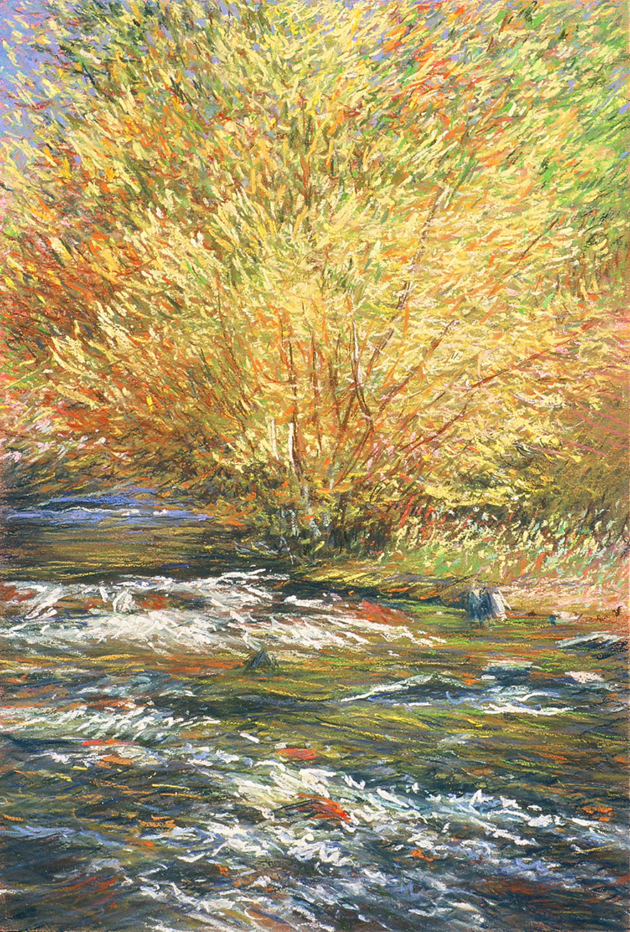 October Willow And Stream, Bishop Canyon, 1997-2014, Connie Smith Siegel, Pastel 32x24