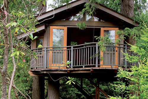 This tree house, held up by red cedars and tucked away in greenery, is the  perfect hideout. It has the look of a classic tree house, but don't let  that fool ...