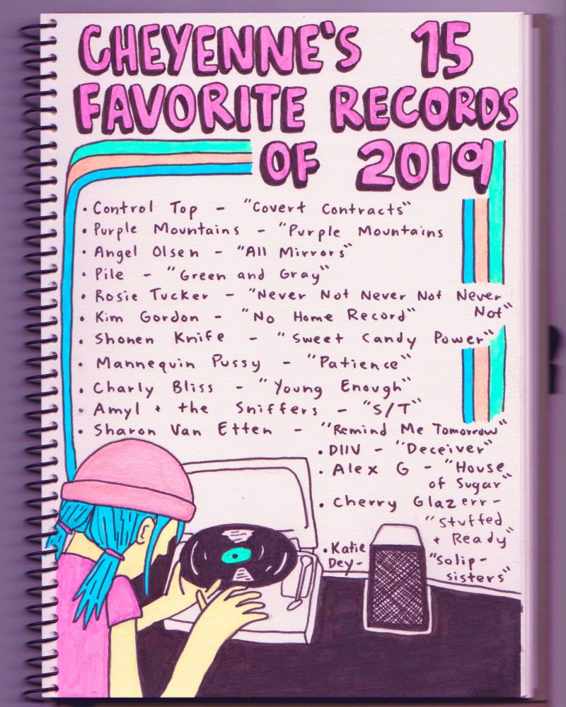 Drawing of 15 Favorite Records of 2019