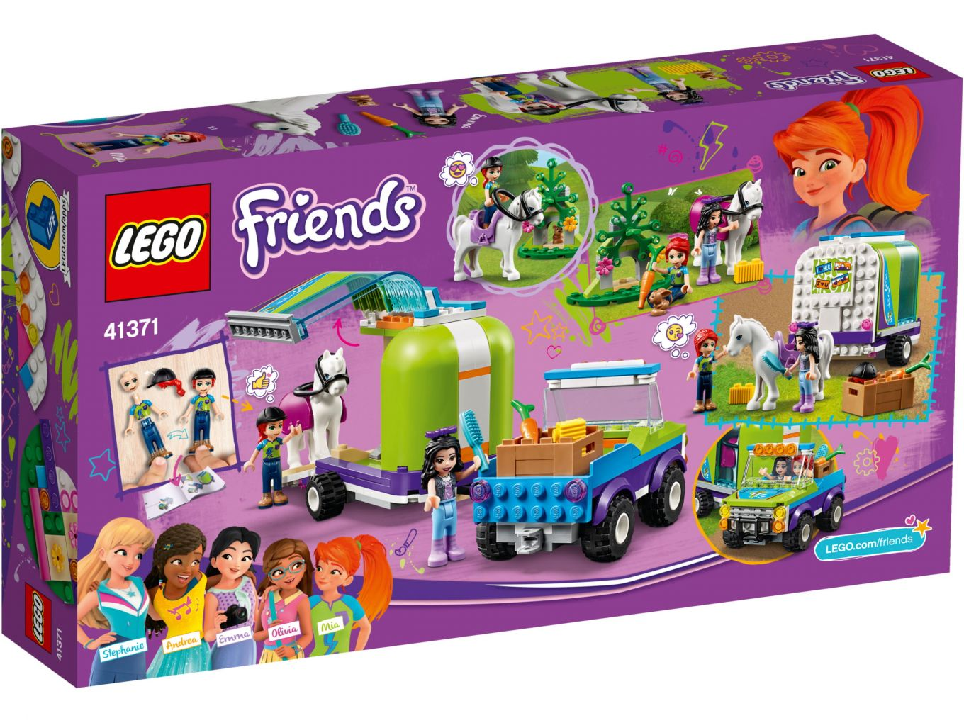 Lego Friends 41371 Mias Horse Trailer Box Back The Brothers