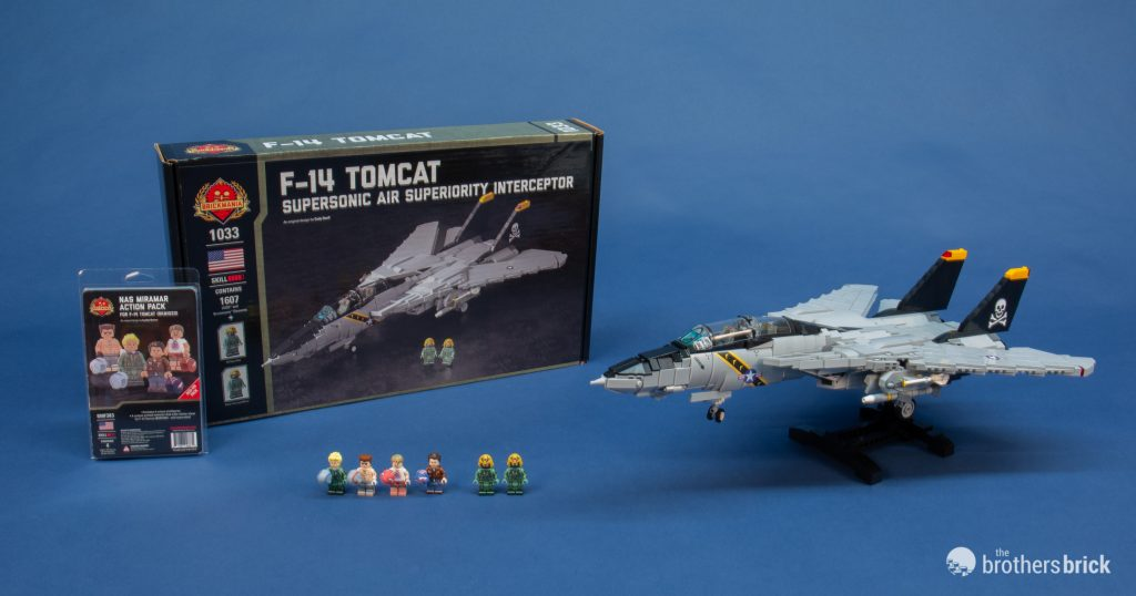Brickmania 1033 F-14 Tomcat Supersonic Air Superiority Interceptor custom kit + NAS Miramar Action Pack custom minifigures [Review]
